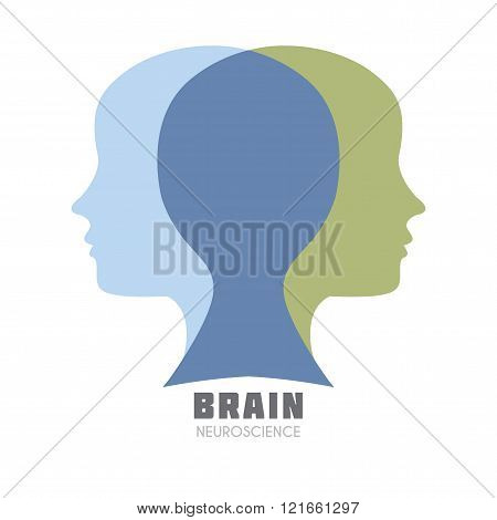 Left & Right Human Brain hemispheres vector icon. Brain sign design template for Neuroscience & Medicine. Left and right brain functions. Creative & analytical brain division. Vector illustration. stock photo