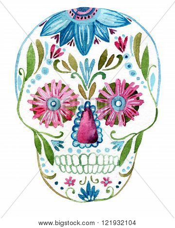 Sugar skull painting isolated on white background. Hand painted watercolor illustration