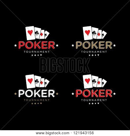 Poker Vector Logo Templates Set with cards stock photo