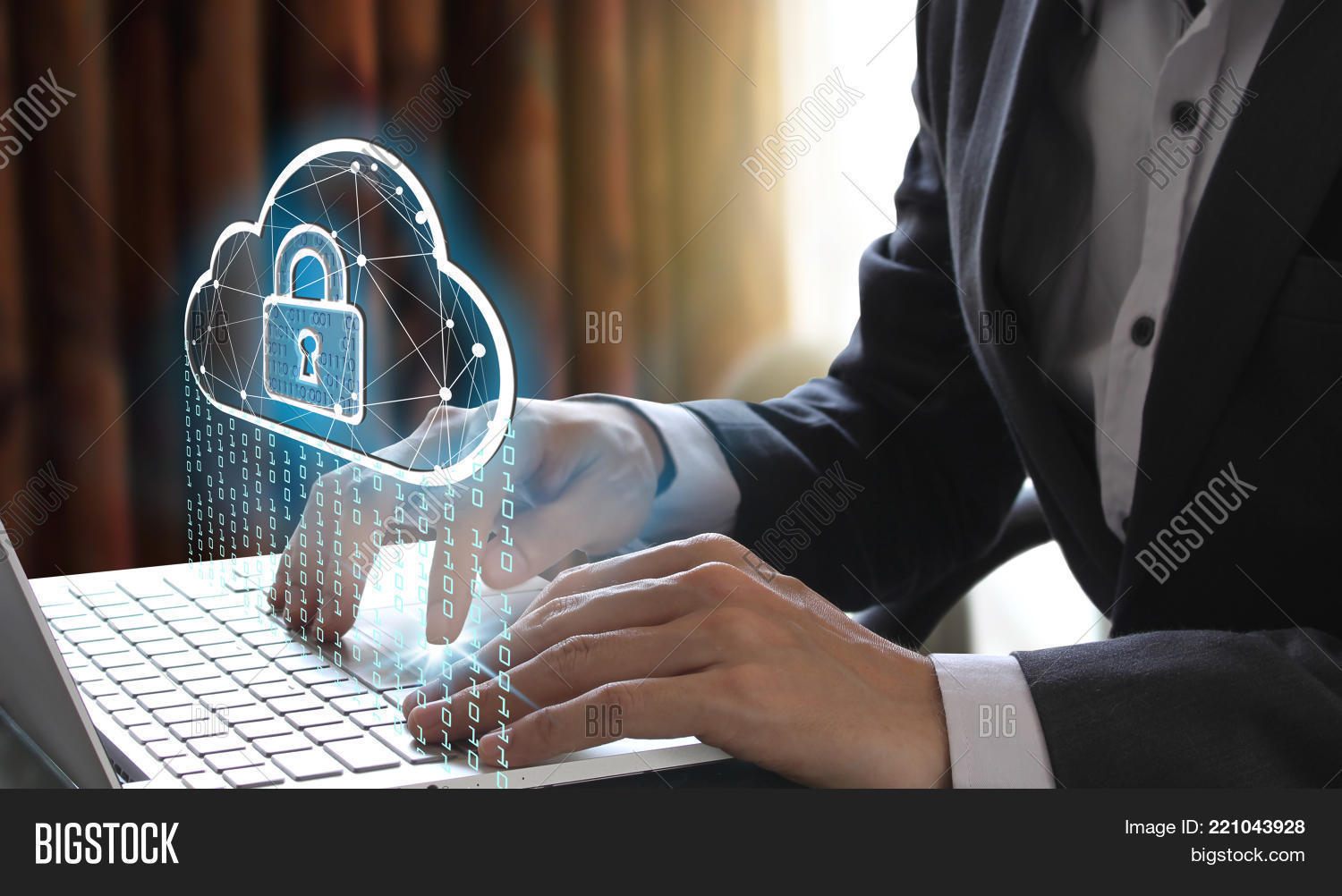 Businessman use Laptop with interface of padlock and cloud computing technology, Cyber Security Data Protection Business Technology Privacy concept, Internet Concept of global business.