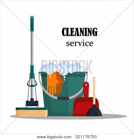 Cleaning service. Colorful set house cleaning tools with bucket, mop, glovers, scoop, toilet plunger isolated on white background. Detergent and disinfectant products, household equipment - flat vector illustration. stock photo