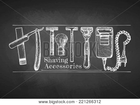 Shaving accessories set drawn with chalk on blackboard. Straight razor, double-edge Safety razor and shaving brush, disposable razor, modern razor, Electric razor. stock photo