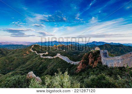 Sunrise at Jinshanling Great Wall of China, Jinshanling, Beijing, China