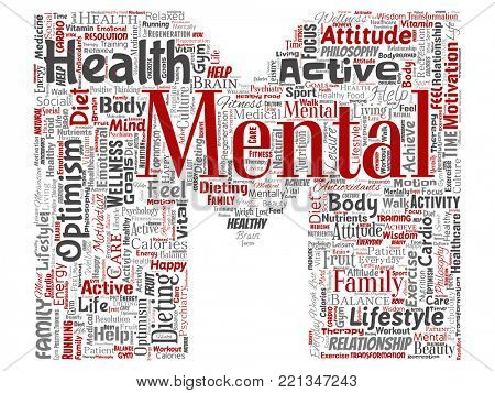 Conceptual mental health or positive thinking letter font M word cloud isolated background. Collage of optimism, psychology, mind healthcare, thinking, attitude balance or motivation text stock photo