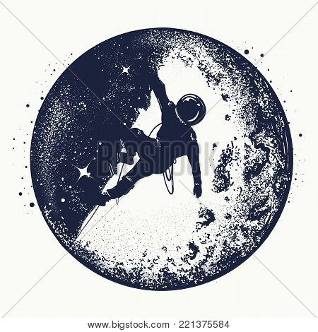 Astronaut tattoo and t-shirt design. Astronaut on the moon. Spaceman new planets. Research symbol space, Universe. Brave astronaut at the spacewalk on the moon tattoo stock photo