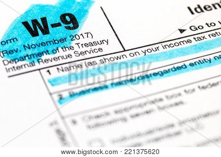 A 2018 Federal income tax laws W9 form. stock photo