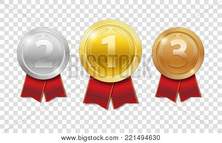 Champion Award Medals sport prize. gold, silver and bronze award medals with red ribbons isolated on transparent background. Vector illustration EPS 10 stock photo