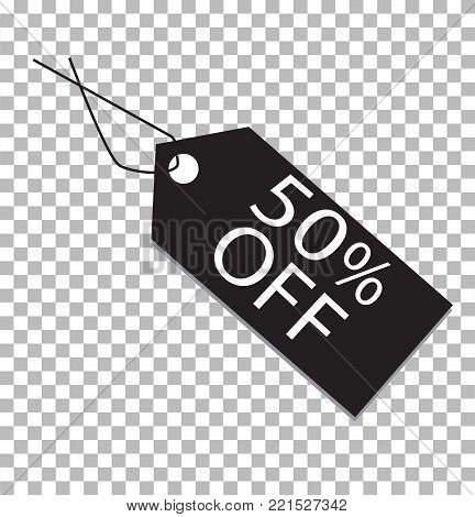 50 percent tag on transparent. 50 percent tag icon. 50 percent price tag sign. stock photo