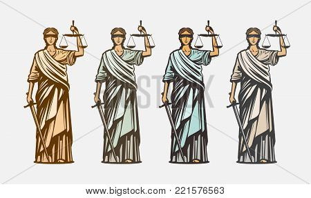 Lawsuit, judge symbol. Lady justice, judgment, defence justitia concept vintage vector stock photo
