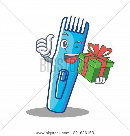 With gift trimmer mascot cartoon style vector illustration stock photo