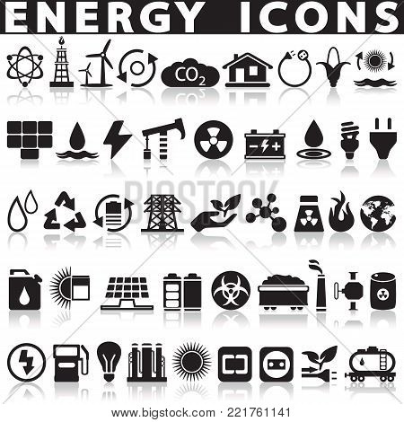 energy icons, industry icons, go green icons, save energy icons, vector