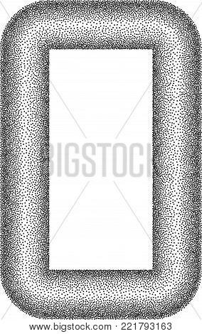 Stippled Rectangular Frame - Vector Dotted Illustration stock photo