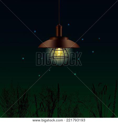 Old  Lantern with Fireflies - Vector Illustration stock photo