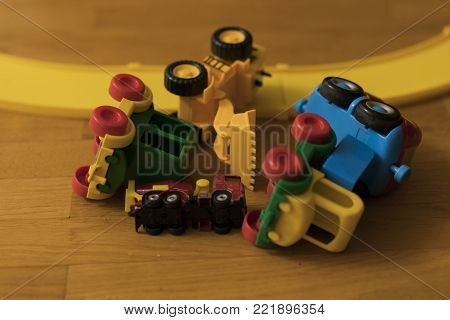 a bunch of children's machines on the floor stock photo
