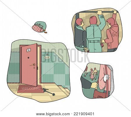 Situations provoking theft and loss of money. Keys left at the door. Theft in the crowd. A man tears the bag from the woman's shoulder. Raster illustration. stock photo