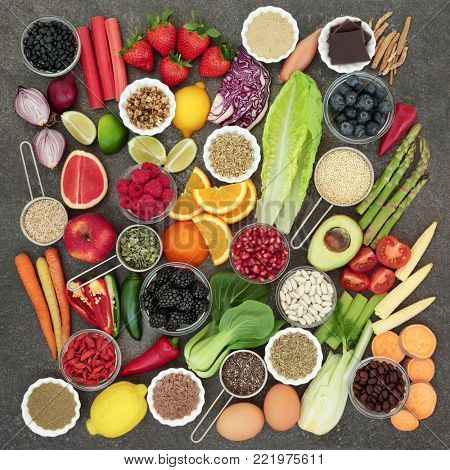 Diet health food and herbal medicine with herbs used as appetite suppressants, legumes, seeds, vegetables, fruit, coffee and supplement powders. Dieting concept   stock photo