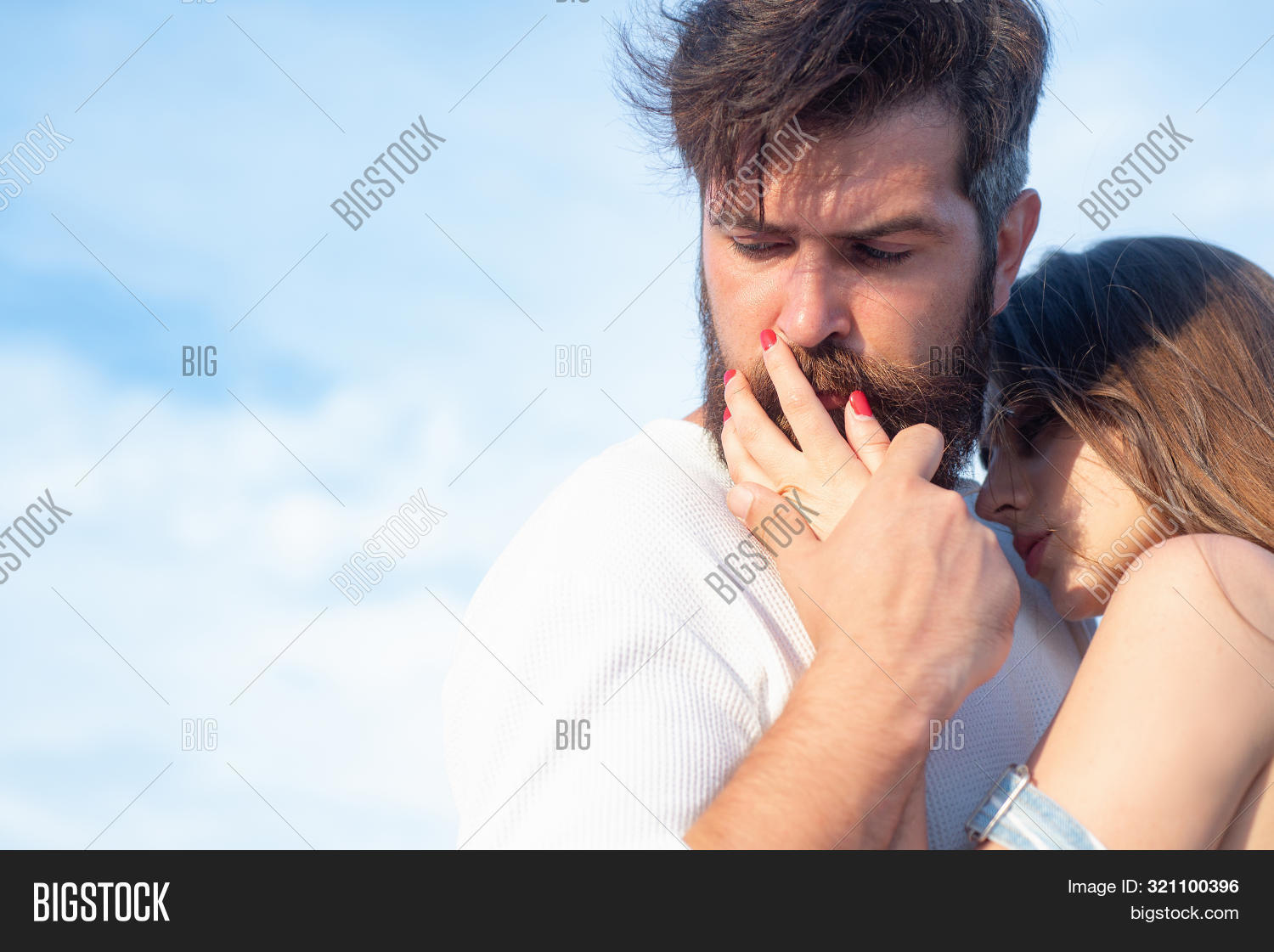 Passionate Man Gently Kissing Beautiful Woman With Desire. Retro Couple. Happy Couple In Love Having
