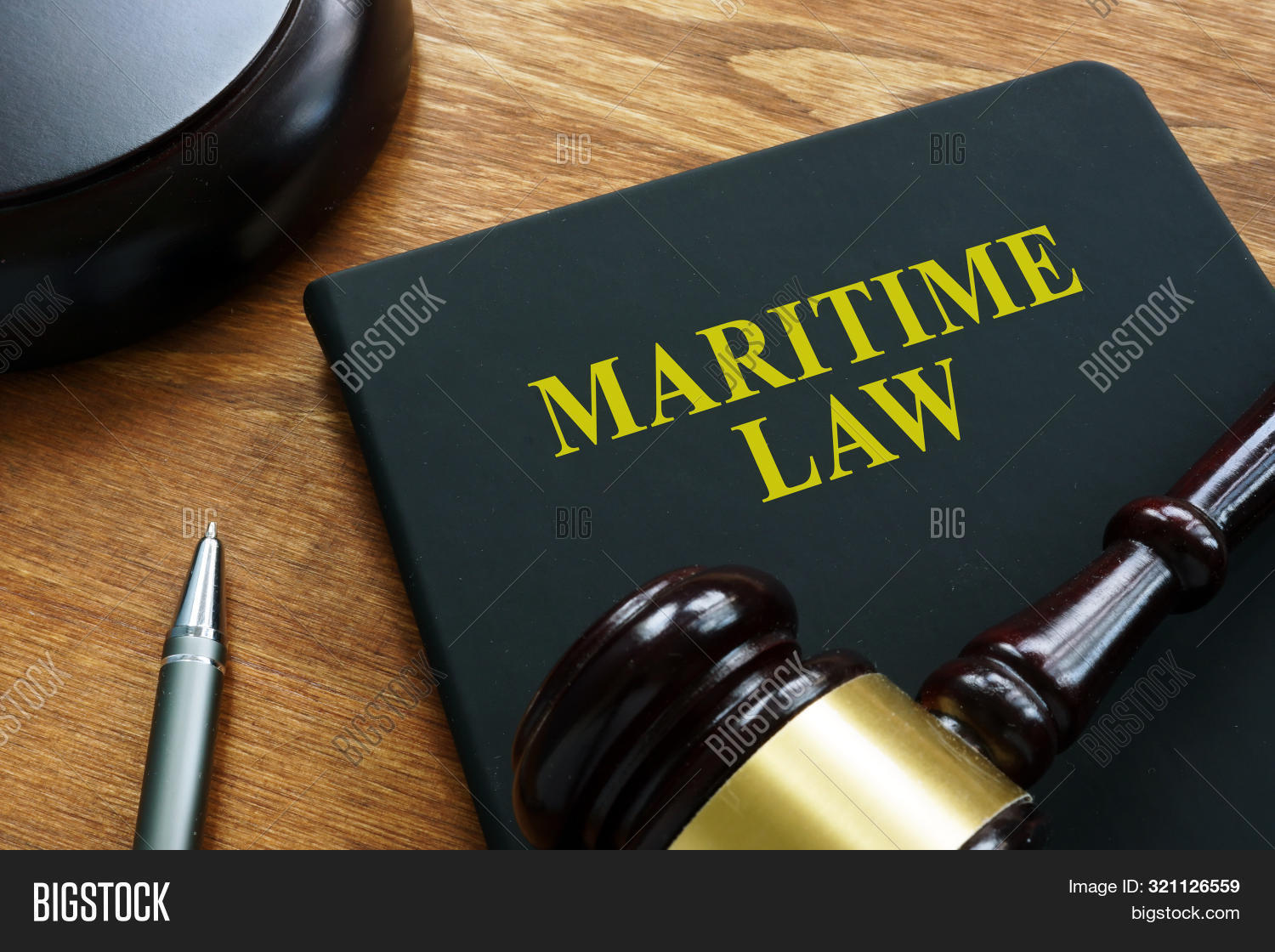 Maritime Law Black Book And Wooden Gavel.
