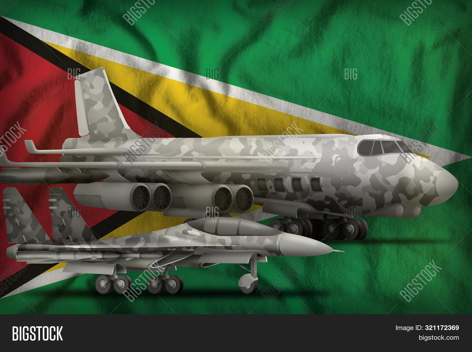 air forces with grey camouflage on the Guyana flag background. Guyana air forces concept. 3d Illustration