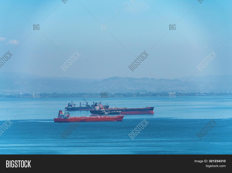 San Francisco cargo ships off the bay