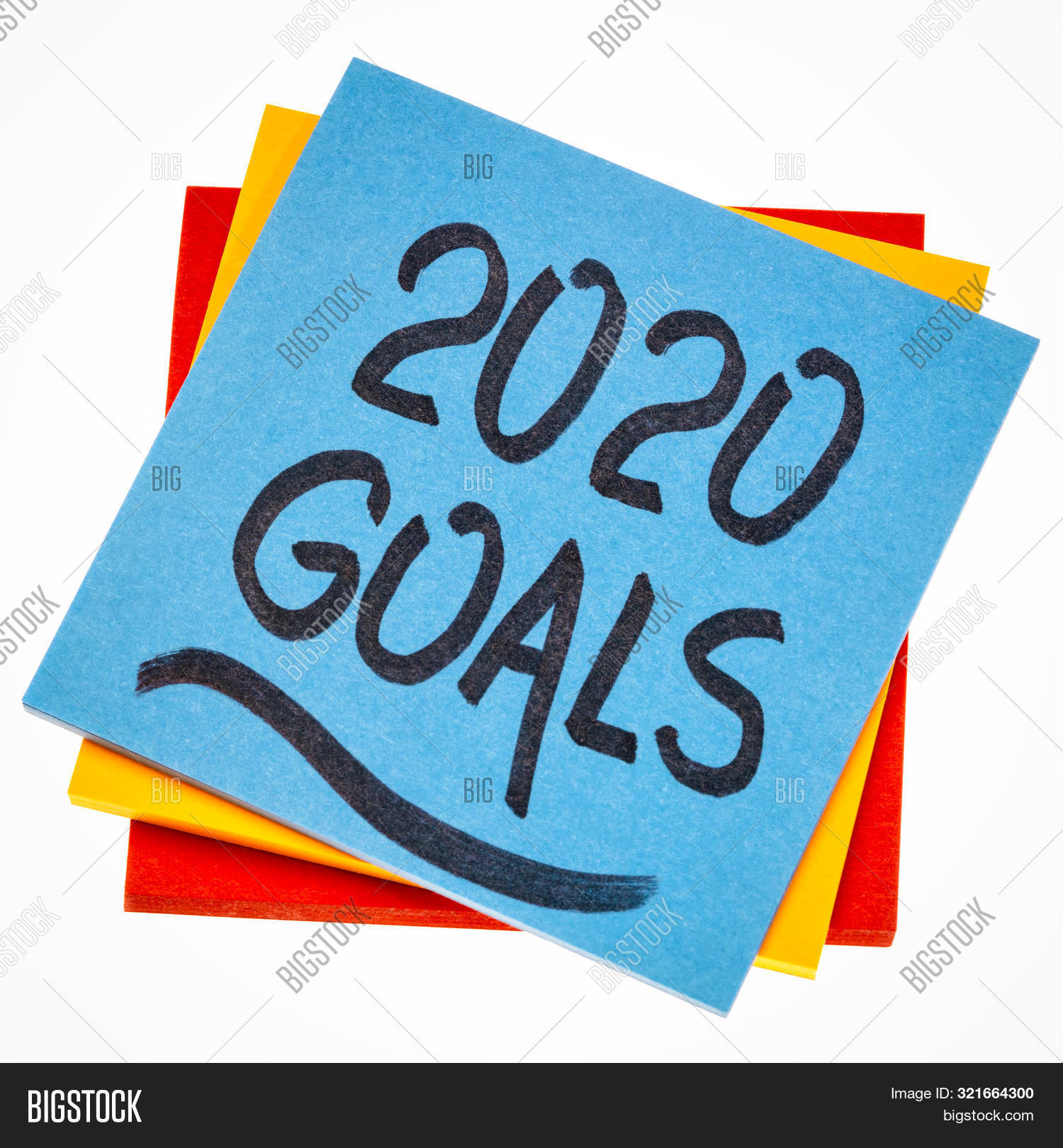 2020 goals reminder  - handwriting on an isolated sticky note, New Year resolutions and goal setting