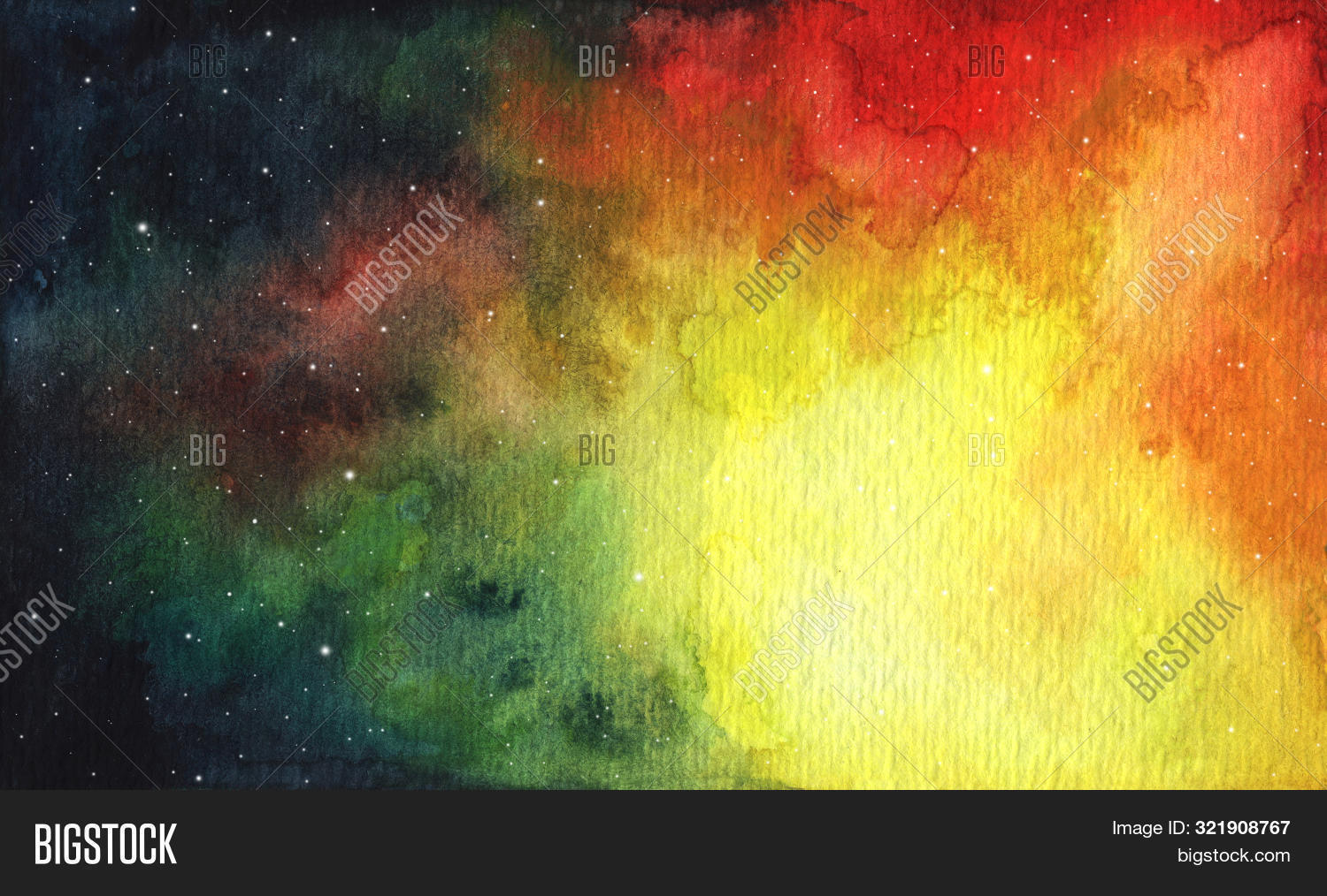Abstract Bright Colorful Universe. Nebula Night Starry Sky In Rainbow Colors. Multicolor Outer Space
