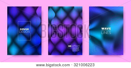 Fluid Stripe Poster. Purple Design Covers Set. Dynamic Illustration. 3d Distorted Halftone Texture. Purple Fluid Stripe Poster. Abstract Covers Set. Dynamic Illustration. Stripe Poster. stock photo