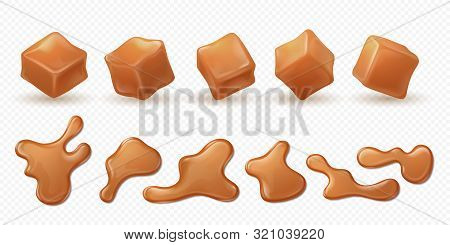 Realistic caramel. 3D milk toffee splash, drips and drops isolated confectionery, sweet candy sauce images. Vector illustration cubes toffee melt caramel flow set on transparent background stock photo