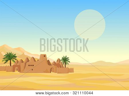 Decorative landscape - desert, mountains, African ancient mosque from clay. Background, template, card. Place for text. Vector illustration. stock photo