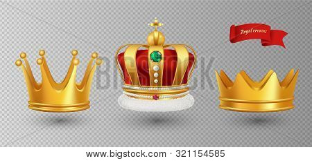 Realistic royal crowns. Vector luxury premium monarchy antique diadem diamonds and jewels and gold crowns isolated on transparent background. Illustration crown emperor, coronation monarch stock photo