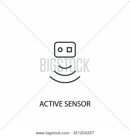 Active Sensor concept line icon. Simple element illustration. Active Sensor concept outline symbol design. Can be used for web and mobile stock photo