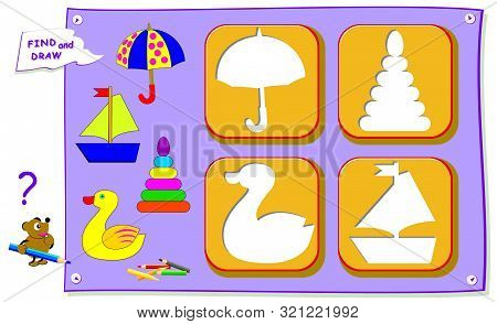 Logical puzzle game for baby coloring book. Find the place for each object and paint correctly. Worksheet for kids textbook. Back to school. Development children drawing skills. IQ training test. stock photo