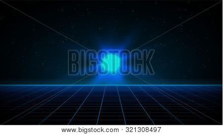 Retrowave synthwave vaporwave blue laser grid in starry space with bright glow over the horizon. VHS effect. Eps 10 stock photo