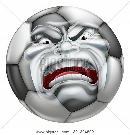 An angry mean looking Soccer Football ball sports cartoon mascot character stock photo
