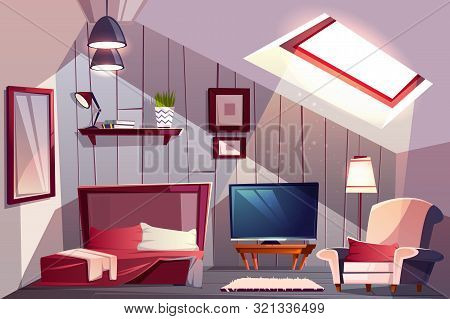 Cozy attic bedroom or guest room interior with uncovered bed, classic armchair and TV set cartoon illustration. Comfortable loft apartments or hotel room. House mansard floor with sloping roof stock photo