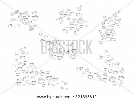 vector bubbles, water drops in realistic volumetric style. monochrome set of black and white 3d water drops, a symbol of freshness and purity. art design elements isolated on white background for advertising, web, business, your ideas. stock photo