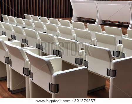 interior of conference room with chairs and table. Interior design stock photo