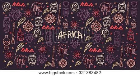 Hand draw doodles of Africa word. Colorful illustration. Background with lots of objects. stock photo