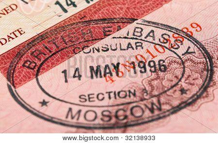 British visa stamp in your passport. Closeup stock photo