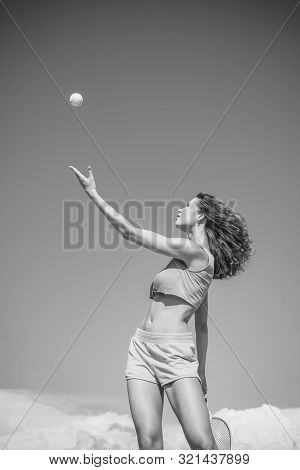 Girl playing tennis. Happy active female workout. Beautiful attractive fitness woman. Tennis concept. Sport and healthy lifestyle stock photo