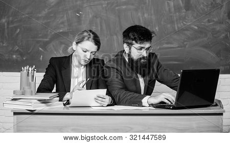 Apply to enter high school. Selection committee concept. Teacher principal decide who will enter private school. Private elite school. Interviewing enrollee. College enrollee. Entrance examination stock photo