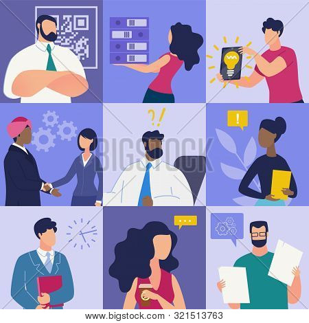 Set Bright Banner Communication at Work Cartoon. Creating Positive Opinion about Management Company. Positive Emotions Company Employees. Boss and Subordinates. Vector Illustration. stock photo