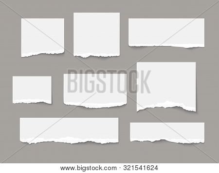White torn paper tears pieces collection isolated stock photo