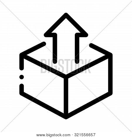 Box Container With Arrow Agile Element Vector Icon Thin Line. Agile Rocket And Document, Gear And Package, Loud-speaker And Stop Watch Concept Linear Pictogram. Monochrome Contour Illustration stock photo