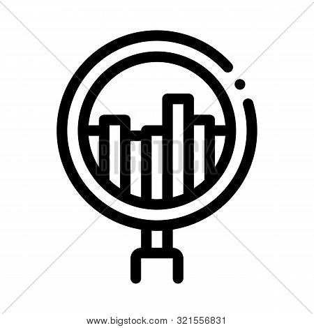 Graph In Magnifier Glass Agile Element Vector Icon Thin Line. Agile Rocket And Document, Gear And Package, Loud-speaker And Stop Watch Concept Linear Pictogram. Monochrome Contour Illustration stock photo