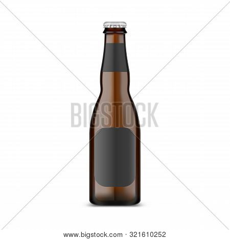 Glassware craft beer bottle with metallic lid. Isolated container with dark ale and empty label. Stout or malt, lager or wheat golden booze in jar. Alcohol drink advertising for pub, shop, bar, store stock photo