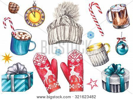 Christmas set with knitted hat, mittens, cappuccino and coffee mugs, gift boxes, clock, balls, candy cane and stars. Watercolor isolated on white. stock photo