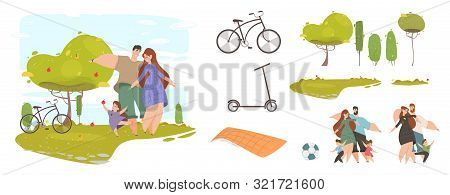 Happy Family with Kids in Park Set for Creation Design Composition. Mother, Father and Children Activity. Picnic, Ball, Bicycle, Scooter and Trees Elements Cartoon Flat Vector Illustration, Clip Art stock photo