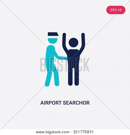 two colored airport searchor vector icon from airport terminal. 2 color airport searchor concept. blue airport searchor sign. airport searchor icon can be use for web, app, UI. airport searchor icon vector illustration. Bicolor airport searchor stock photo