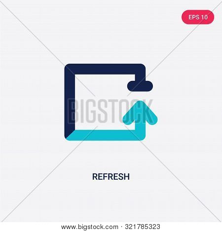 two colored refresh vector icon from arrows 2. 2 color refresh concept. blue refresh sign. refresh icon can be use for web, app, UI. refresh icon vector illustration. Bicolor refresh vector icon EPS stock photo